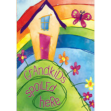 Welcome Grandkids spoiled here Garden Flag Double-sided House Decor Banner