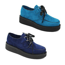 WOMENS LADIES PLATFORM CLEATED SOLE PUNK LACE UP OXFORD LOAFERS SHOES SIZE 3-8