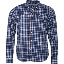 Fred Perry Mens Herringbone Large Check Long Sleeve Shirt Service Blue S,M