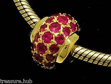 Bd040- GENUINE 9K 9ct Yellow Gold NATURAL Ruby Pave set  LARGE & Heavy Bead