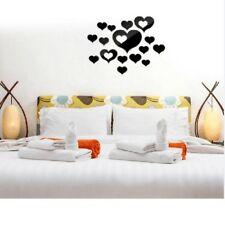 16x DIY Removable Heart Shaped Mirror Stickers Wall Decals Home Decoration