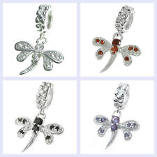 925 Sterling Silver Dragonfly CZ Dangle Insect Bead for European Charm Bracelet