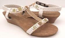 WOMENS/LADIES Mid Wedges Low Heels Bead Bling Ankle Strap Comfort SANDALS Shoes