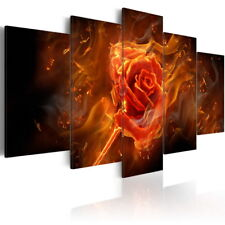 Fiery Red Flower Canvas Print Large 5 Panel Artwork Abstract Wall Decor Painting