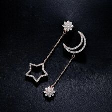 Cute Star And Moon Flower CZ Pendant Earrings Rose Gold Plated And Silver Color