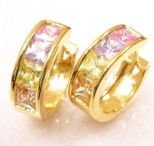fashion1uk Simulated Diamond Huggie Hoop Earrings 18K Gold Plated Snap Closure