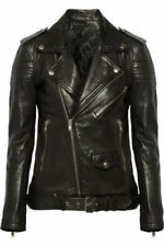 New Black Women Leather Jacket Quilted Biker Motorcycle Size XS S M L XL XXL
