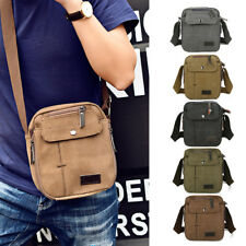 Men Vintage Canvas Leather Satchel School Military Shoulder Messenger Bag T0116