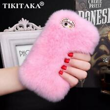 Cover Rabbit Fur Skin Case For iPhone 5 5S 6 6S 6 Plus 6S Plus Hair fur Plush Bl