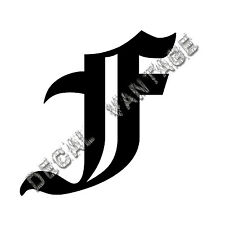 Old English F Letter Initial Vinyl Sticker Decal Font Diploma Choose Size &Color