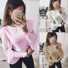 Round Neck Blouse Casual Solid Loose Tops Fashion Women Lace Long Sleeve T-shirt