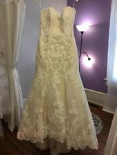 New Sleeveless Ivory Lace Wedding Dress Corset Strapless Bridal Gown