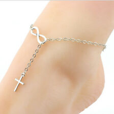NEW Infinity Cross Anklet Bracelet Chain Silver Gold Ankie Foot Jewelry Foot