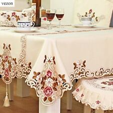 Polyester Satin Fabric Embroidery Pattern Tablecloth For Home Decoration