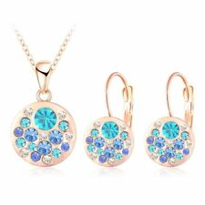Round Austrian Crystal Jewelry Set Rose Gold Style Pendant/Earrings Sets