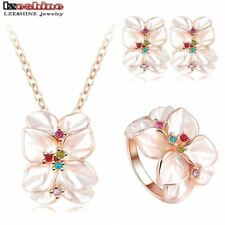 Jewelry Set Rose Gold Austrian Crystal Enamel Earring/Necklace/Ring Flower Set