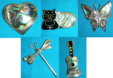 SALE-ABALONE SHELL BROOCH PINS-GUITAR,CAT,HEART,DRAGONFLY,BUTTERFLY-NEW