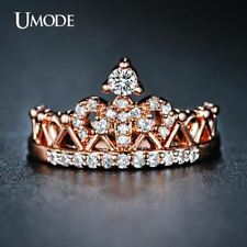 New Arrival Anillos Rose Gold Round Cut Cubic Zirconia Fashion Crown Rings For W
