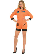 Women's Orange Hot Mission Control Astronaut Romper Costume