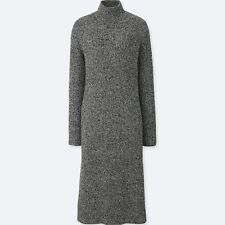 UNIQLO Soft Lambswool Blend Ribbed Knit Long Sleeve Midi Dress Grey M L BNWT