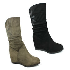 WOMENS LADIES WEDGE HEEL SLOUCH MID CALF BOOTS CASUAL ANKLE SHOES SIZE 3-8