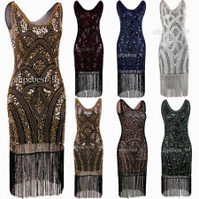 Vintage 1920s Flapper Dress Gatsby Promgown Sequins Beads Tassel Evening Dresses