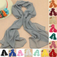 Chiffon Womens Girl Soft Long Crinkle Scarf Wrap Voile Wraps Stole Shawl Banquet