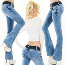 Womens Bootcut Jeans Blue Acid Washed Designer Sexy Low Rise Hipster Sizes 6-14