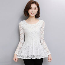 Lady Lace Hollow Out Ruffle Shirt Slim Floral Peplum Long Sleeve Blouse Top Chic