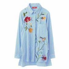 Women Embroidery Loose Cotton Long Sleeve Turn-down Collar White Blue Striped Sh