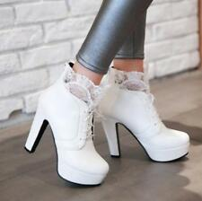 Ladies Womens Lace Platform Stilettos High Heeled Lace Up Zipper Ankle Boots