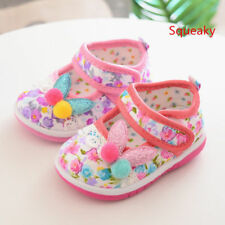 lovely Toddler Babys Walking Shoes Soft Infant Squeaky Shoes Girl Princess Shoes