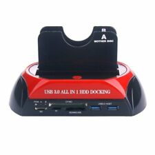 "2.5"" 3.5"" USB 3.0 All in 1 Dual SATA HDD Docking Station Card Reader BS"