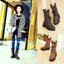 Womens Ladies Chuncky Heel Lace Up Mid Calf Boots Military Platform Riding Shoes