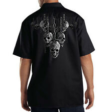 Dickies Black Mechanic Work Shirt Hanging Out Skulls On Chains