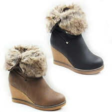 WOMENS LADIES FOLD OVER FUR CUFF WEDGE MID HIGH CALF ANKLE BOOTS SHOES SIZE 3-8