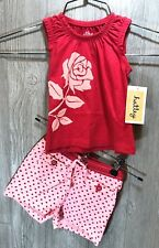 Hatley Girls Infant Baby Tank top with Shorts / Short Set Pink Roses NWT