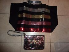 VICTORIAS SECRET BLING LINED TOTE BAG WEEKENDER PURSE 2 PIECE GYM BEACH NWT