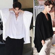 Men Casual White Black Dolman Batwing Sleeve Oversized Loose Formal Dress Shirt