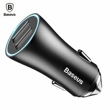 Baseus Dual Port USB Car Charger iPhone Xiaomi Samsung 2.4A Fast Charge Adapter