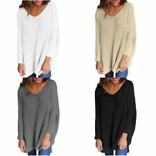 Casual Loose Long Sleeve Sweater Women's V-neck Knitwear Long Pullover Jumper BS