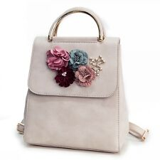 Flowers Women Backpack High Quality PU Leather Mochila Escolar School Bag Womens