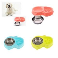 STAINLESS STEEL DOG BOWL Cat Puppy Pet Non Slip Food Water SLOW FEEDING DISH