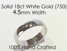 18ct 750 Solid White Gold Ring Wedding Engaged Friendship Half Round Band 4.5mm