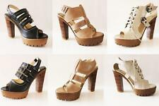 WOMENS LADIES CASUAL STRAPPY BLOCK HIGH HEEL PLATFORM SANDALS SHOES SIZE 2-8