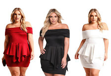 Sexy Party Fold Over Off Shoulder Peplum Women Clothing Plus Size Short Dresses