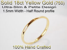 18ct 750 Solid Yellow Gold Ring Wedding Friendship Half Round Band 1.5mm