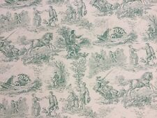 Designer Green Toile De Jouy 100% Cotton Curtain Upholstery Blind Craft Fabric