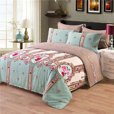 Vintage Floral Quilt Duvet Cover Pillowcase Home Bedding Set Twin Queen King Bed