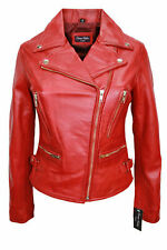 Ladies Deluxe 2100 Red Biker Slim fit sexy Awesome classic Real Leather Jacket